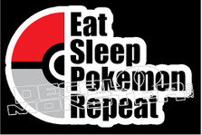 Eat Sleep Pokemon Go Repeat Decal Sticker