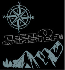 Mountain Compass Silhouette 1 Decal Sticker