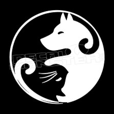 Cat Dog Ying Yang Pet Decal Sticker