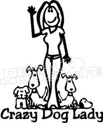 Stick Figure Crazy Dog Lady Decal Sticker