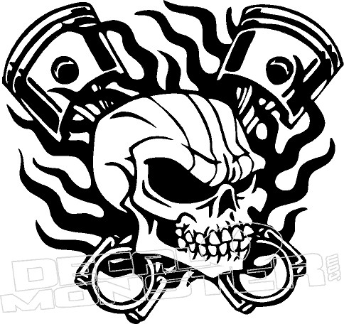 Skull Flame Piston Vehicle Decal Sticker