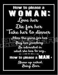 How to Please a Man and Woman Decal Sticker