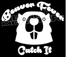 WHITE Vinyl Decal Beaver hunter  fun sticker hunt trap country truck