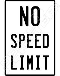 NO Speed Limit Decal Sticker