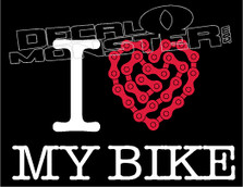 I Heart My Bike Chain Decal Sticker