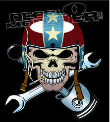 Skull Helmet Retro Mechanic Decal Sticker
