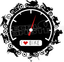 I Heart Biking Motorcycle Guage Decal Sticker