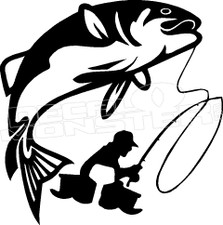 Fishing Silhouette 5 Decal Sticker