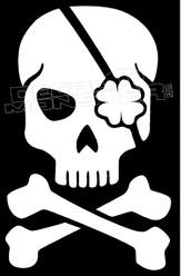 Shamrock Irish Eye patch Skull Decal Sticker
