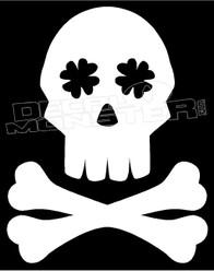 Irish Skull Shamrock Eyes Skull Decal Sticker