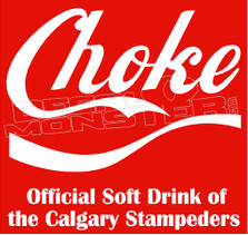 Coke Choke Calgary Stampeders Football Decal Sticker
