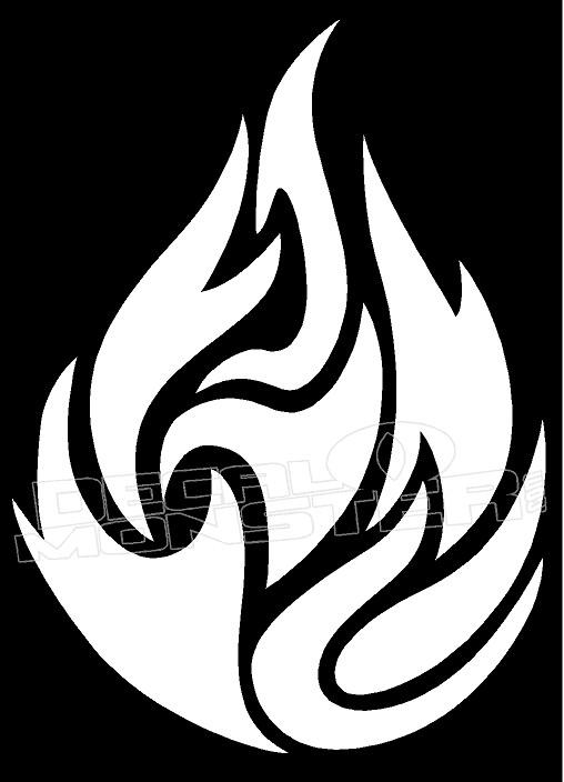 Flame Fireball Silhouette Decal Sticker