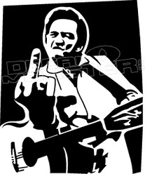 Johnny Cash Middle Finger 2 Decal Sticker