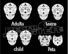 Sugar Skull Family Decal Sticker