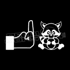 Middle Finger Raccoon Funny Decal Sticker