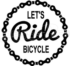 Let's Ride Bicycle Decal Sticker