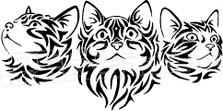 Tribal Kittens 1 Decal Sticker