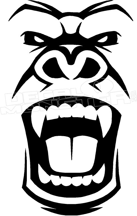 Angry Gorilla Silhouette 1 Decal Sticker Decalmonster Com