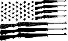 USA Stars & Guns Flag 1 Decal Sticker