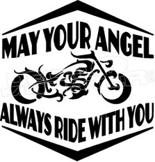 Motorcycle May Your Angel Ride With You 1 Decal Sticker