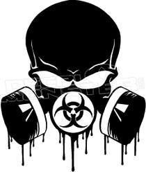 BioHazardous Skull Mask Decal Sticker