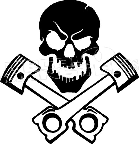 Skull And Pistons Decal Sticker Decalmonster Com