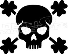 Skull and Four Leaf Clovers Decal Sticker