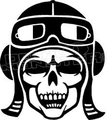 Pilot Skull 1 Decal Sticker