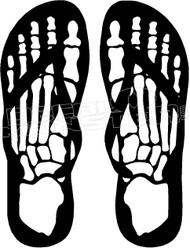 Skeleton Feet Flip Flops Decal Sticker