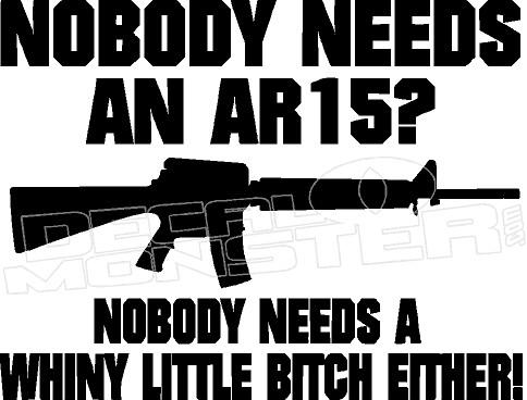 201af9617fe AR15 Nobody Needs Funny 1 Decal Sticker. Image 1. Loading zoom