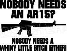 AR15 Nobody Needs Funny 1 Decal Sticker
