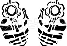 Back Off Skeleton Guns 1 Decal Sticker