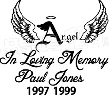 Angel In Loving Memory Of... 2 Memorial decal Sticker