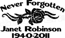 Formal Rose In Loving Memory Of... 2 Memorial decal Sticker
