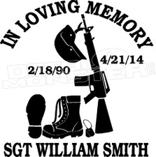 Army In Loving Memory Of... 3 Memorial decal Sticker