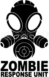 Zombie Response Unit Gas Mask Decal Sticker