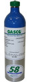 GASCO 58ES-314S: Calibration Gas, 60 ppm CO, 2.5% CH4, 15% O2 Balance Nitrogen in a 58 Liter ecosmart Cylinder