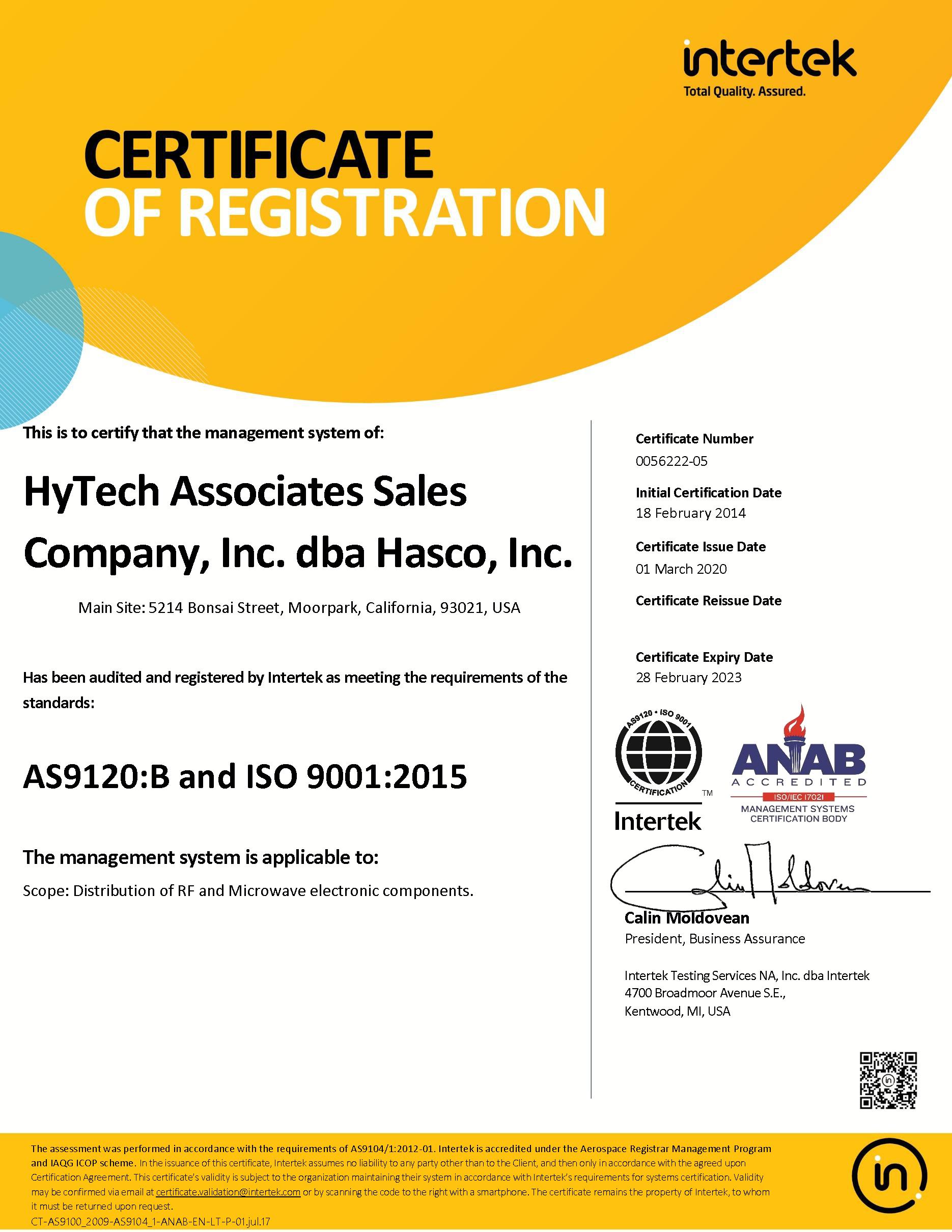 HyTech Assoc. AS9120B Certificate
