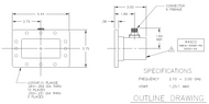 WR-340 to Type N Female Waveguide to Coax Adapter, Right Angle Design, 2.1 GHz to 3 GHz, UG554F Flange (HWCA-340NF-RA)