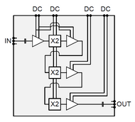 Block Diagram - 81 to 106 GHz W Band, x8 MMIC Multiplier, 12 dBm output power, 10.7 to 13.3 GHz Input Frequency (gXOB0017A)