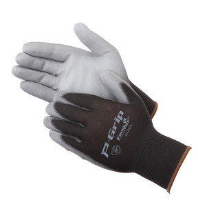 13 gauge, 100% black nylon shell, light grey polyurethane palm