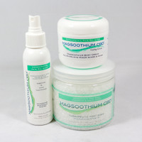 Magsoothium CBD Wellness Set- Therapeutic Foot Soak, Body Cream and Spray.