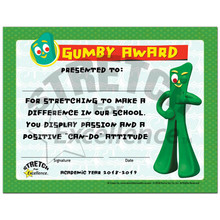 Gumby Award Staff Certificate