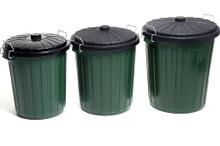 Plastic garbage bin with  lock on black plastic lid.