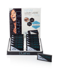 This bold, elegant counter display is great for your boutique.  Offering the D'Lashes Celebrity favorite D'Wispy lashes right for your customers.  They will love these lightweight, natural lashes that gives a bright polished look.  Display these lashes right on your counter.   Please be sure to contact D'Lashes for any additional details.