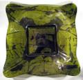 Glass Illusions Green-Gold Square Glass Bowl 41cm