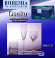 Bohemia Osaka 270 ml wine glasses suitable for every home. Gift boxed as set of six.With all Bohemia Crystal's Mouth Blown and Hand Cut glassware, mechanical accuracy is neither expected nor desired. The slight variations in thickness, width and height, even minute air bubbles, are all features of the glass that indicate it is a wonderful product of fine hand crafting.