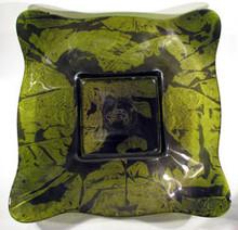 Glass Illusions Green-Gold Square Glass Bowl 30cm