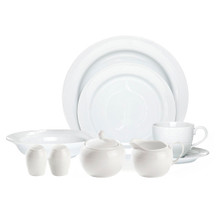 Arctic White 20 piece Dinner Set   Set for 4 people  Contemporary design in white with a subtle circular embossed rim on a fine white porcelain body. Set for 4- Tea Cup, Tea Saucer, Entrée, Dinner and Soup Plate. Plus special bonus salt & pepper, sugar and Cream and extra bonus Serving bowl