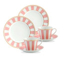 The set includes 2 Tea Cups and 2 Tea Saucers, 2 Cake Plates Size: Cup 75 ml, Saucer (D)13 cm  Size: (D)21 cm, Cake Plate